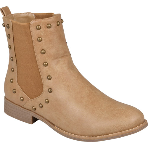 Brinley Co. Women's Studded Round Toe Booties