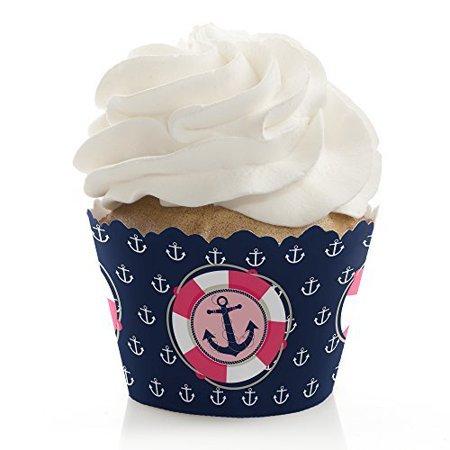 Ahoy - Nautical Girl - Baby Shower or Birthday Party Cupcake Wrappers - Set of 12