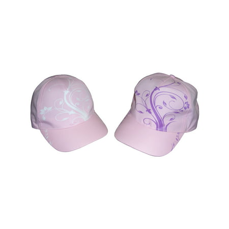 NICE CAPS Girls Kids Childrens Floral Scroll Print Magical Color Changing Sun Summer Baseball Ball Cap Hat ()