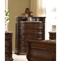 McFerran B9500-C Amber Dark Cherry Finish French 5-drawer Chest w/Marble Top