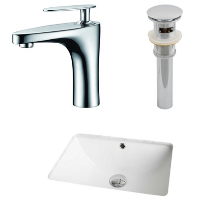 Rectangle Single Hole - American Imaginations 18.25-in. W x 13.5-in. D CUPC Rectangle Undermount Sink Set In White With Single Hole CUPC Faucet And Drain