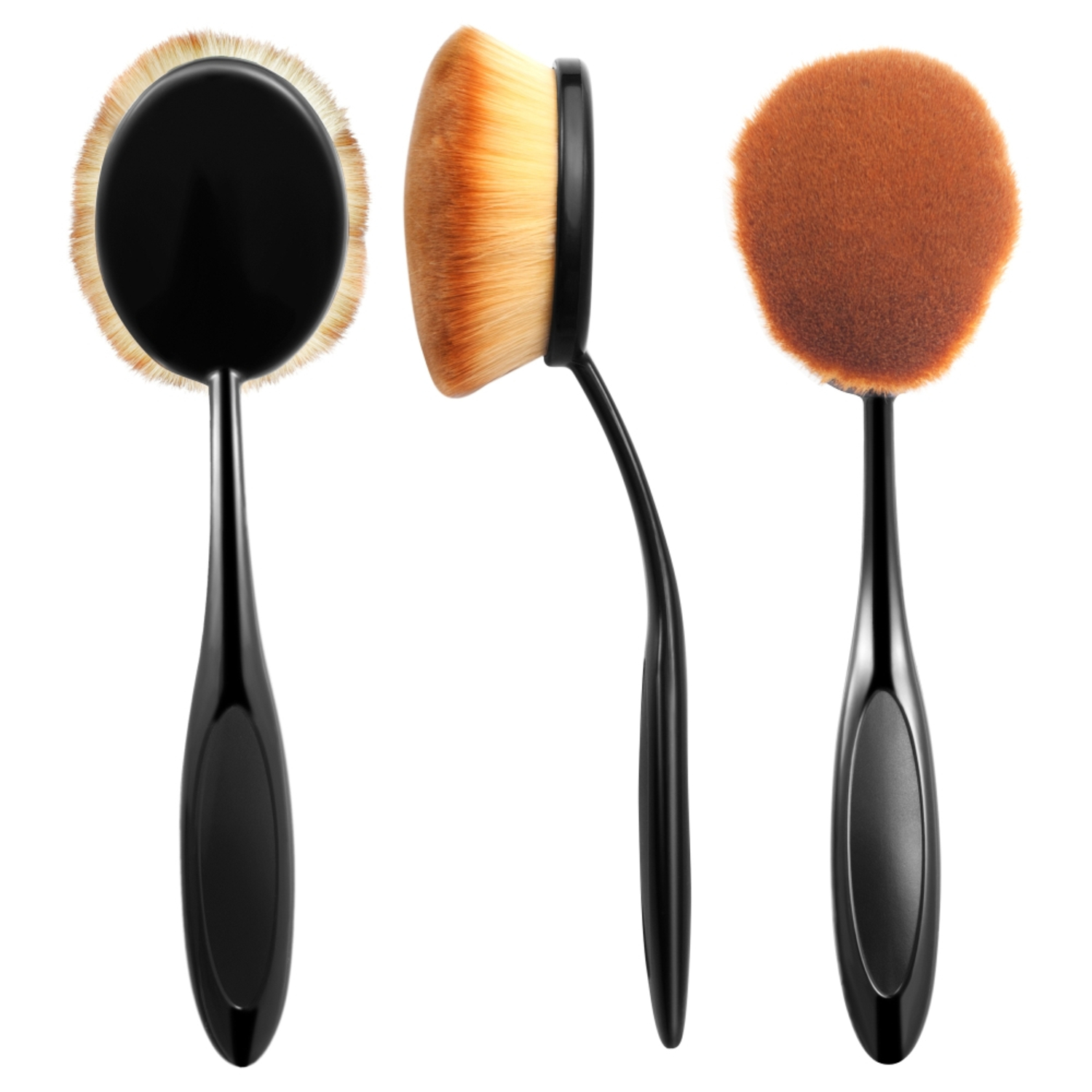 Zodaca Large Head Oval Cream Puff Cosmetic Toothbrush Shaped Power Makeup Foundation Brush - Black/Brown