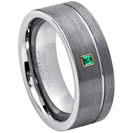 0.05ctw Princess Cut Emerald Tungsten Ring - 8MM Brushed Finish Pipe Cut Tungsten Carbide Wedding Band - May Birthstone Ring - 14kt Rose Gold Bezel - TN030PSRG-1EDs10.5