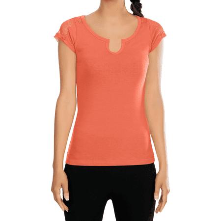 Womens Active Scoop Neck Short Sleeve Cotton Tee Shirt