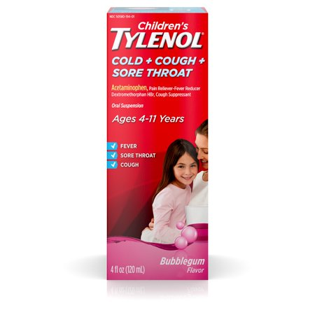 Children's Tylenol Cold, Cough, and Sore Throat, Bubblegum, 4 Fl.