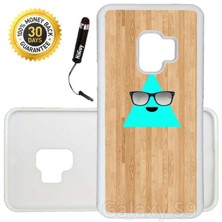 Cool Triangle - Custom Galaxy S9 Case (Cool Triangle with Sunglasses) Edge-to-Edge Rubber White Cover Ultra Slim | Lightweight | Includes Stylus Pen by Innosub