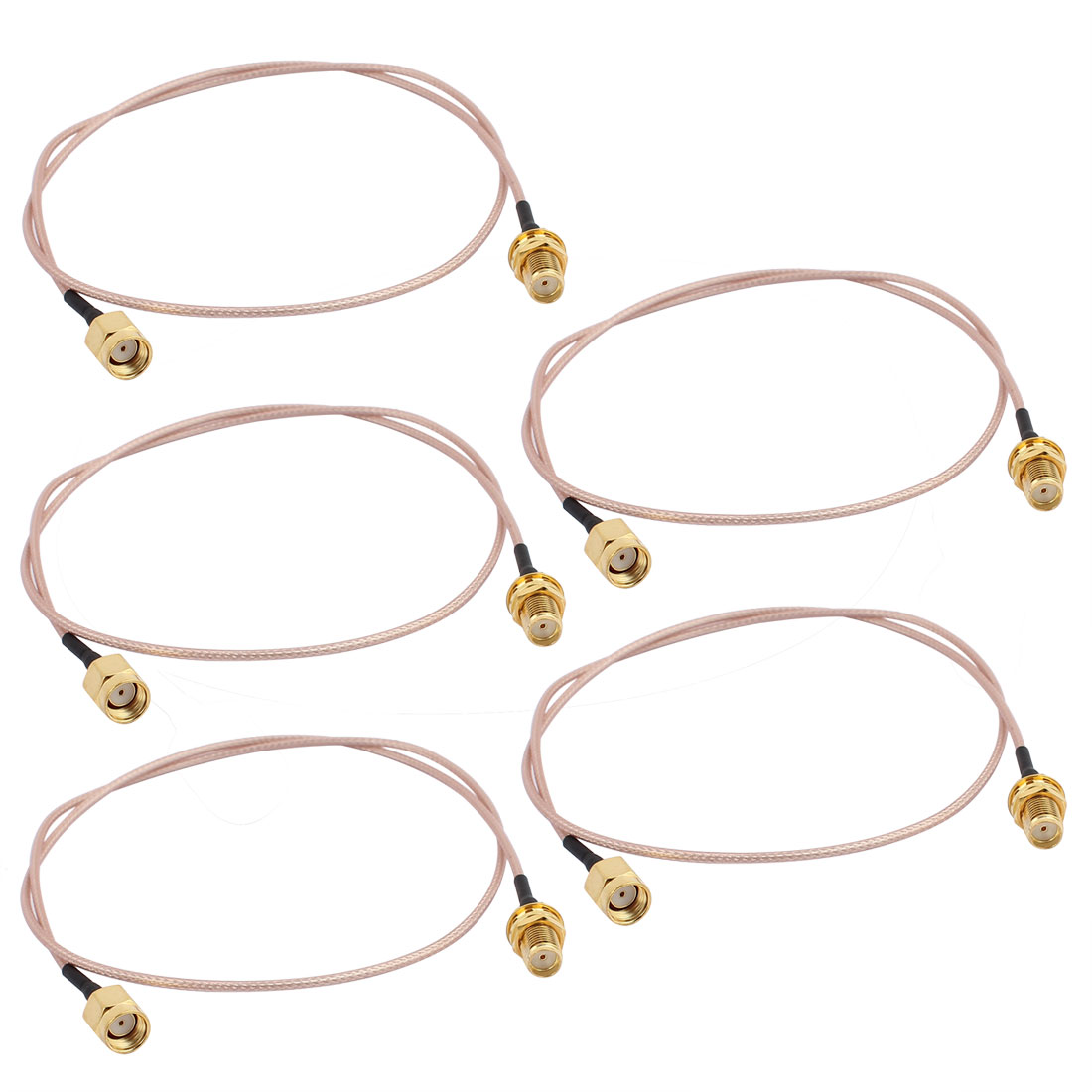 5 Pcs Gold RP-SMA Male to SMA Female Adapter Connector RG178 Coaxial Cable 50cm
