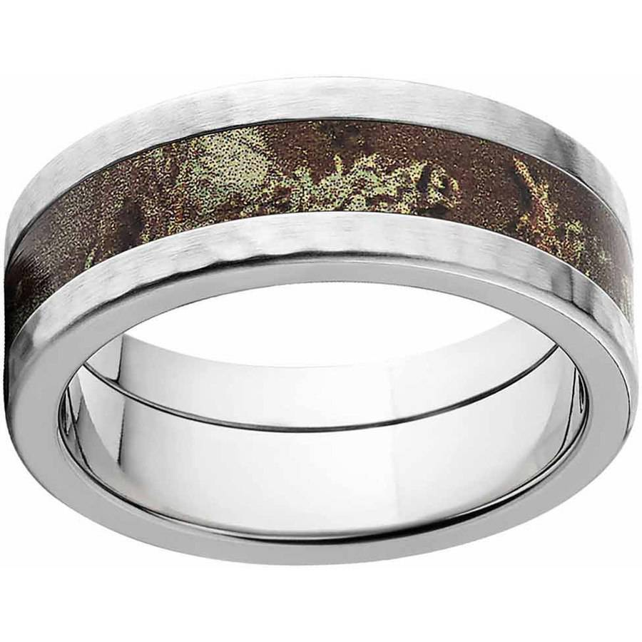 RealTree Max 1 Men's Camo Stainless Steel Ring with Hammered Edges and Deluxe Comfort Fit