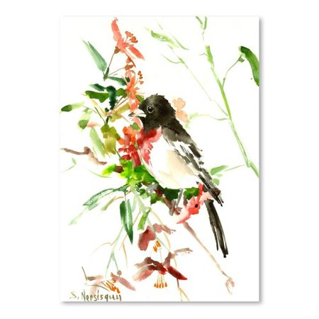 Alcott Hill Rose Breasted Grosbeak Painting Print