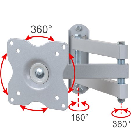 VideoSecu Full Motion Tilt Swivel TV Monitor Wall Mount Swing Arm Bracket for Toshiba 19 20 22 24 26 27 28 inch LED LCD 19LV505 19LV506 19AV500U 19AV501U 19AV51U 24D1633DB 24W1633DB MEW