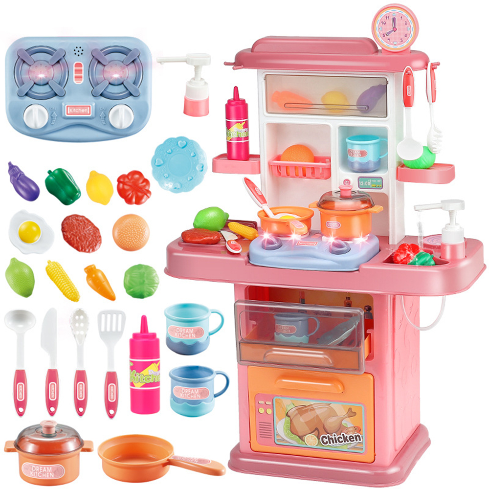 Kitchen Set Pretend Play With Sound Light Kitchen Toy Pan Spoon Vegetable Fruit Accessories With Water System Children Cooking Playset Educational Gift For Toddlers Kids Girls Boys Walmart Canada