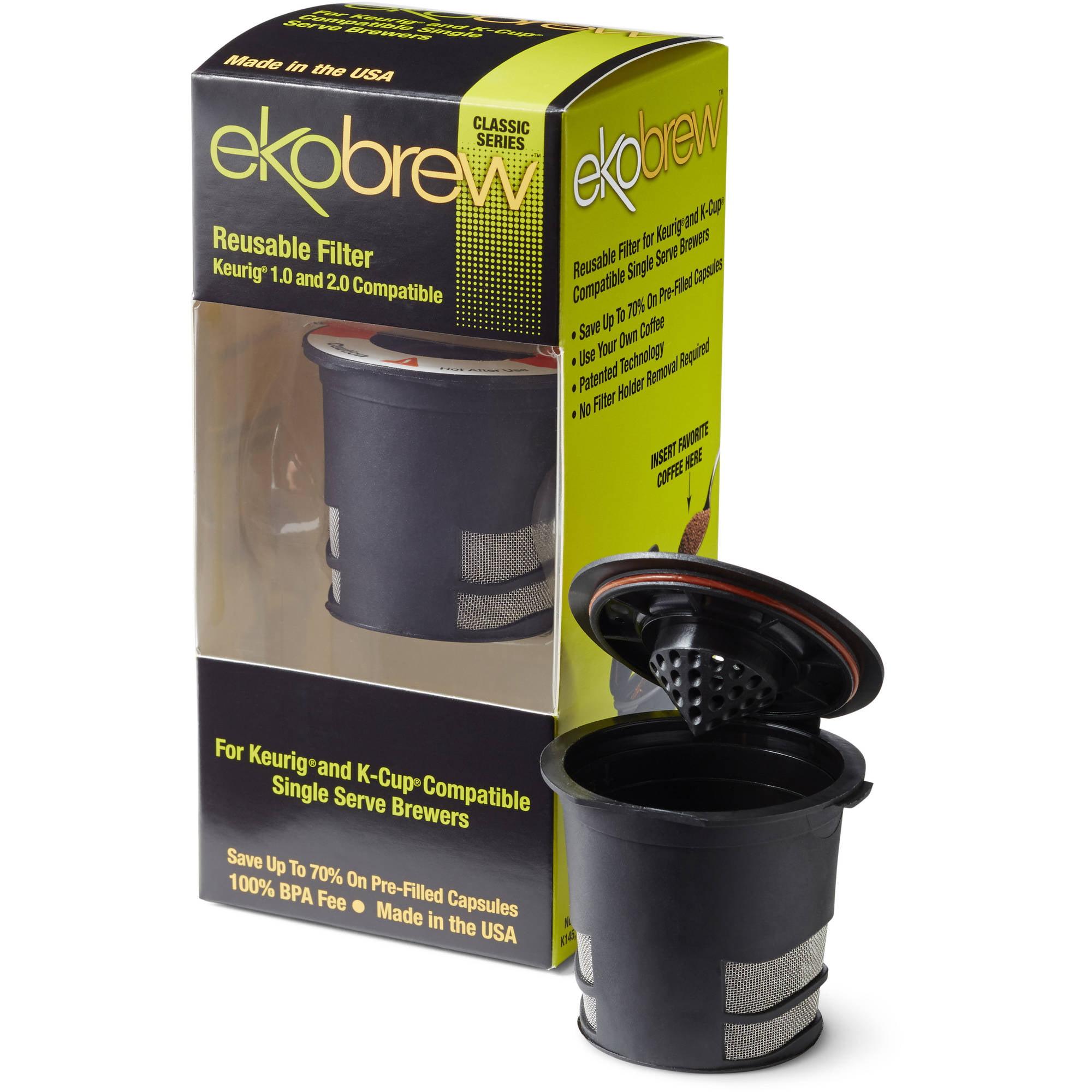 Ekobrew 2.0 K Cup Reusable Coffee Filter, Black Reusable Filter