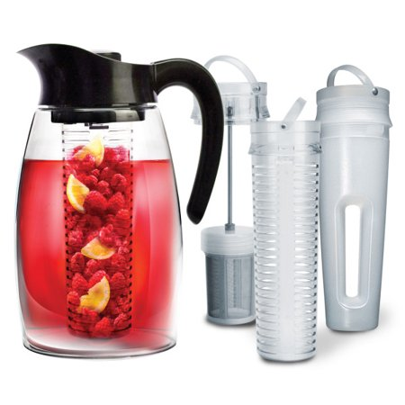 Flavor It 3-in-1 Beverage System with 2.9QT Tritan Pitcher, Tea Infuser, Flavor Infuser, Chill Core- Black ()