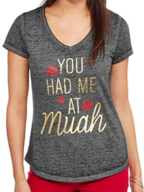 db91ad25 Product Image Rocker Girl Junior Womens Gray You Had Me At Muah Valentines  Day T-Shirt