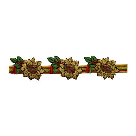 ID 6062 Sunflowers Craft Strip Patch Flower Garden Embroidered Iron On Applique