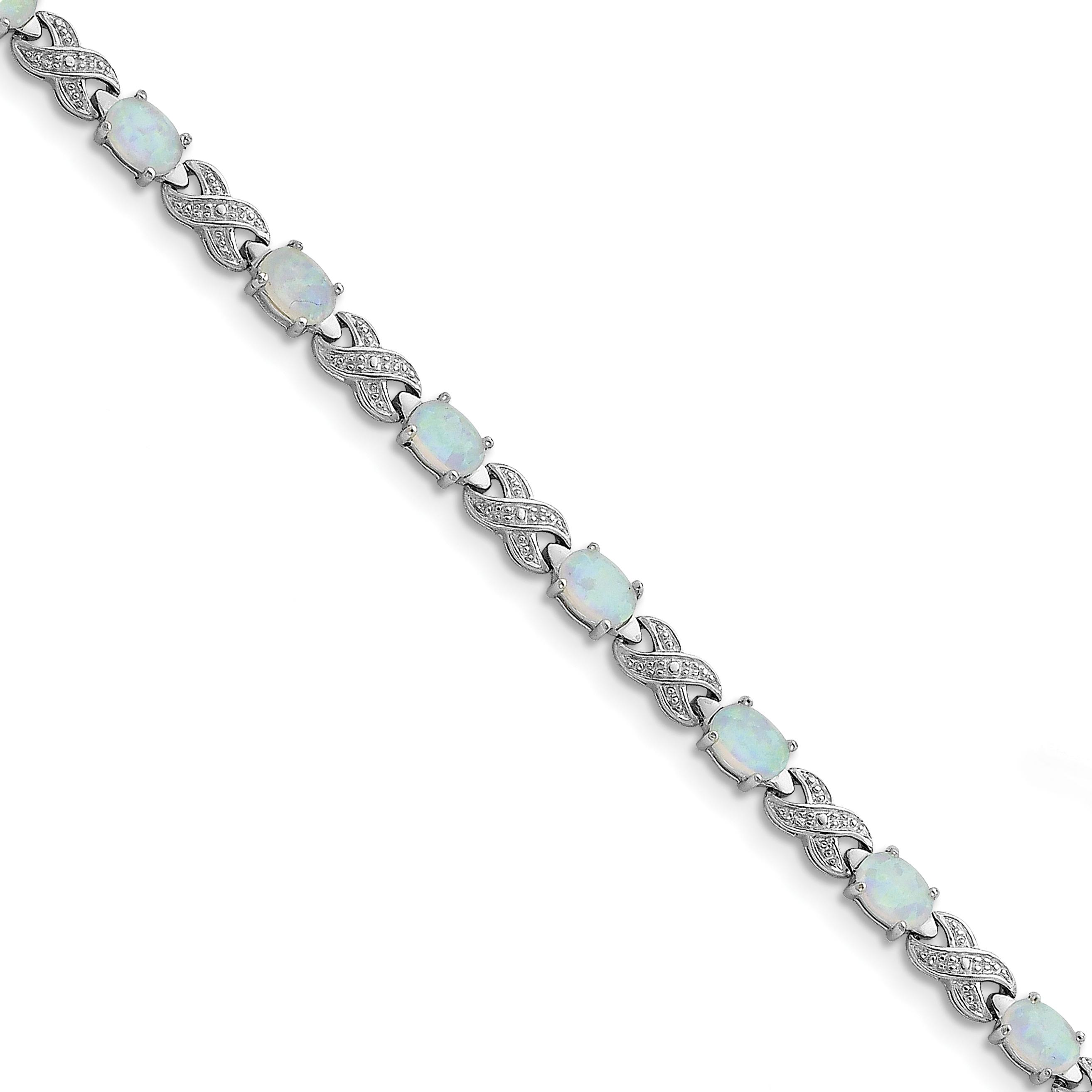"Sterling Silver Lab Created Opal & Diamond Bracelet 7"" by"