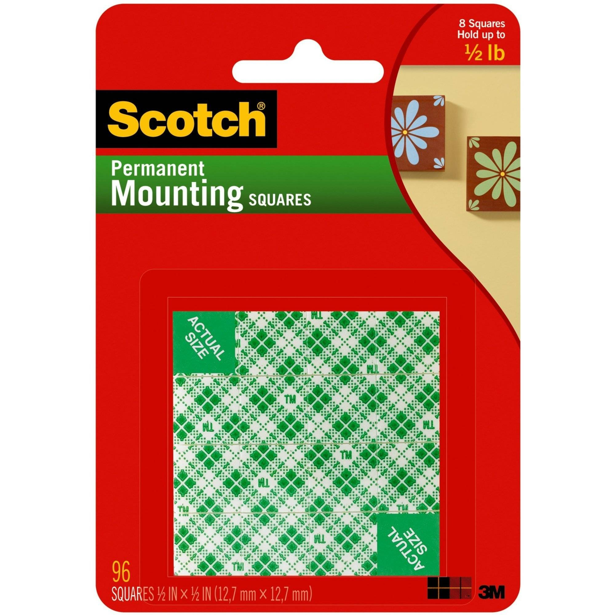 Scotch Permanent Mounting Squares, 1/2 in. x 1/2 in., White, 96/Pack