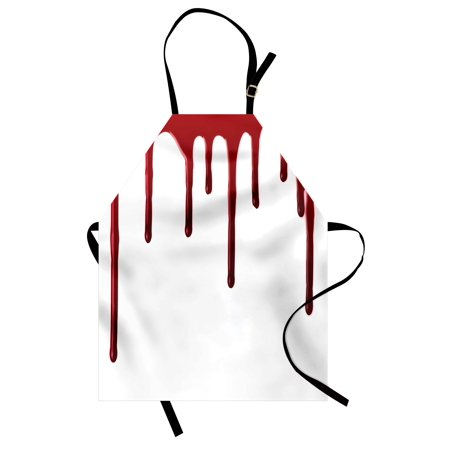 Horror Apron Flowing Blood Horror Spooky Halloween Zombie Crime Scary Help me Themed Illustration, Unisex Kitchen Bib Apron with Adjustable Neck for Cooking Baking Gardening, Red White, by Ambesonne