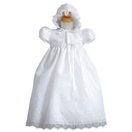 Crayon Kids Baby Girls White Organza Embroidery Christening Bonnet Gown 3-12M](Baby Christening Decorations)