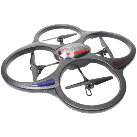 WonderTech Apollo RC 6-Axis Gyro Remote Control Quadcopter Flying Drone with HD Camera, LED Lights, Black