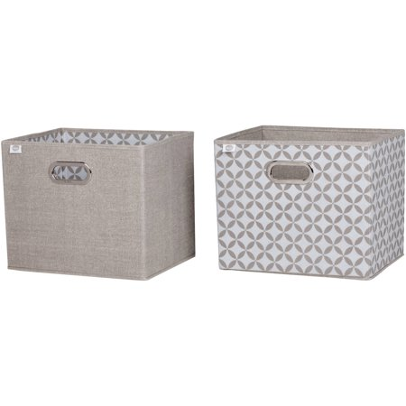 South Shore Storit Fabric Storage Baskets with Pattern, 2-Pack, Taupe, Multiple Patterns