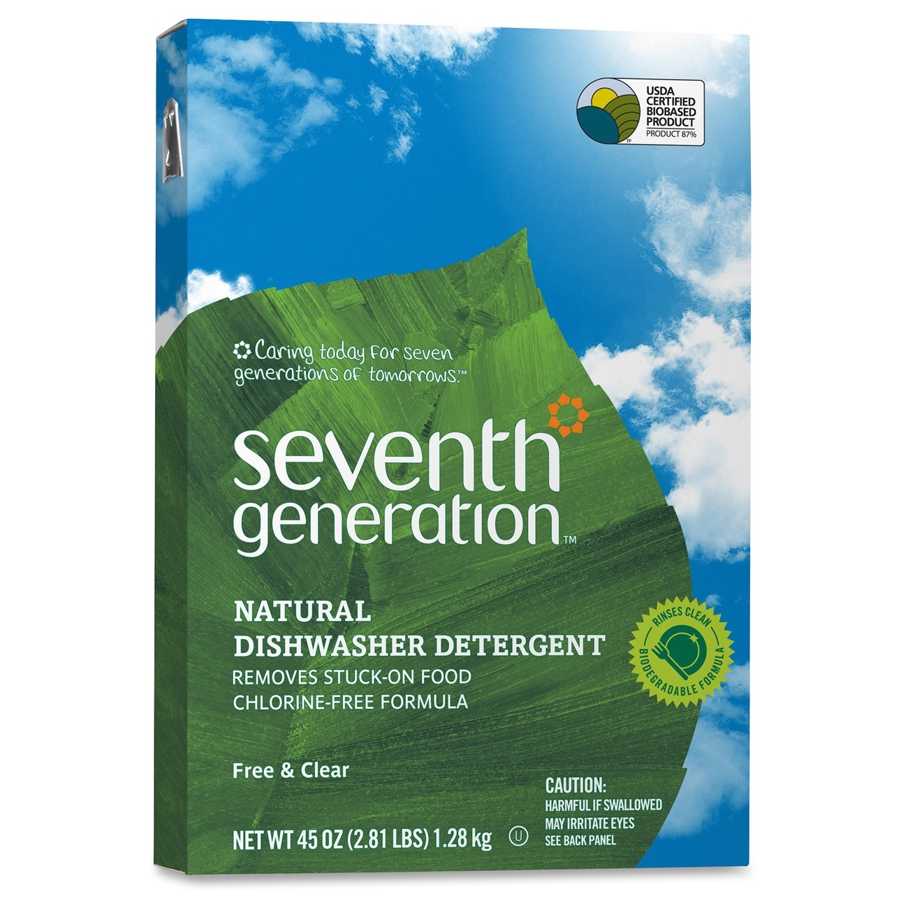 Seventh Generation Natural Dishwasher Detergent - Powder - 45 Oz [2.81 Lb] - Natural Scent - 12 / Carton - Clear (22150ct)