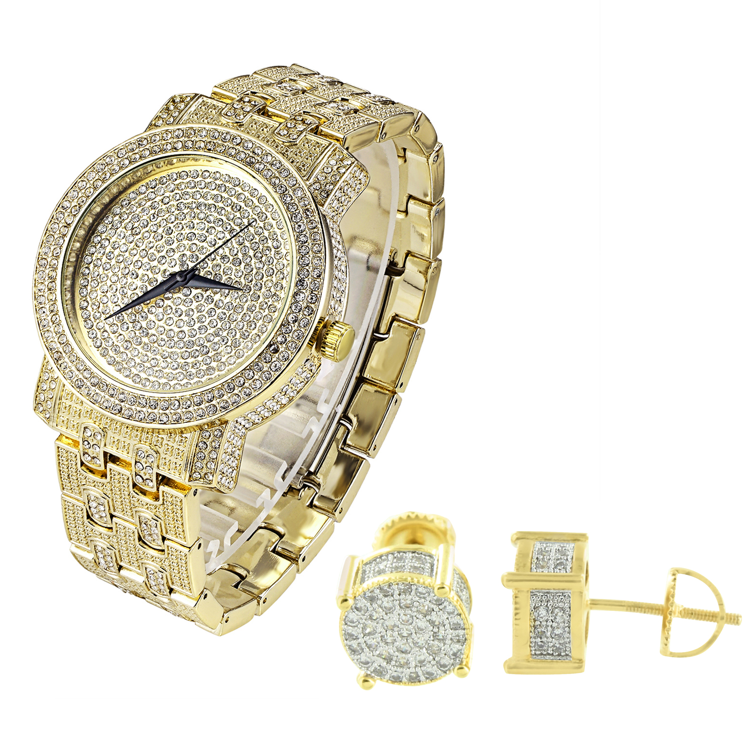 14k Gold Finish Studs Earrings Full Iced Out Techno Pave Watch Lab Created Cubic Zirconias 48mm