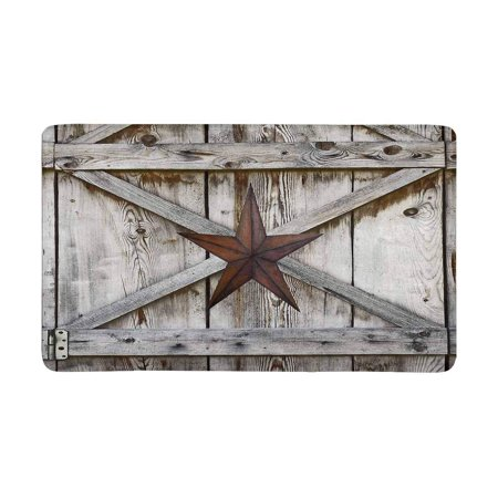 MKHERT Western Texas Star on Rustic Old Barn Wood Doormat Rug Home Decor Floor Mat Bath Mat 30x18