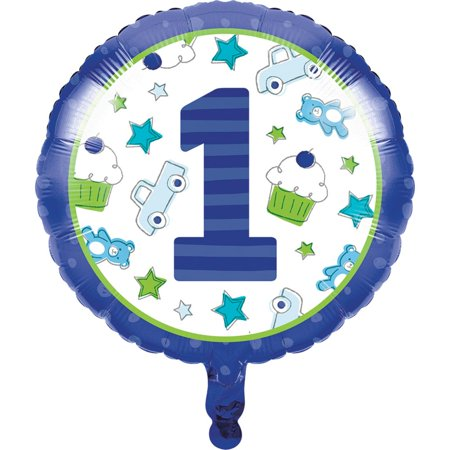 Set of 10 Blue and White First Birthday Themed Metallic Balloons 18
