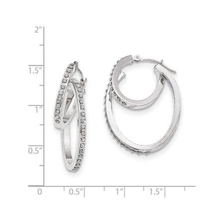 14k Boucles d'oreilles en or blanc blanc diamant Fascination Hinged Double Hoop (23x35mm) de - image 1 de 2