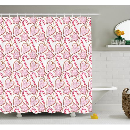 Shower Curtains Pink And Brown.Candy Cane Shower Curtain Watercolor Style Gingerbread Cookies With