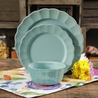 12-Piece The Pioneer Woman Luster Teal Dinnerware Set 122735