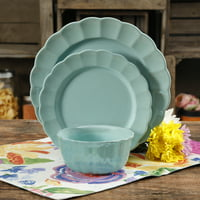 Deals on 12-Piece The Pioneer Woman Luster Teal Dinnerware Set 122735
