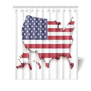 MYPOP Americana Decor Collection, USA Map Flag Stars Stripes American Style, Polyester Fabric Bathroom Shower Curtain Set, 66W X 72L Inches, Blue Red White