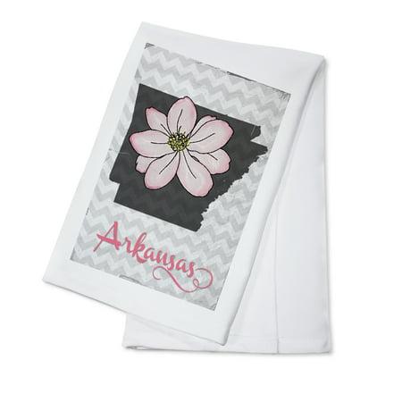 Apple Blossom State Flower - Arkansas - State Flower - Apple Blossom - Lantern Press Poster (100% Cotton Kitchen Towel)