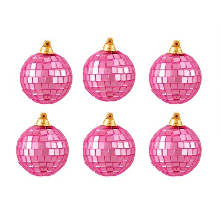 6ct Bubblegum Pink Mirrored Glass Disco Ball Christmas Ornaments 2.75