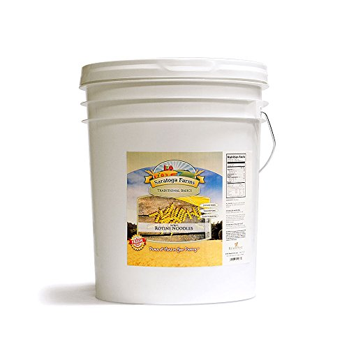 Saratoga Farms Instant Rotini Noodles Value Bucket, Emergency Food Storage (107 3 4 Cup Servings Dry, 187 Cups Prepared) by Saratoga Farms