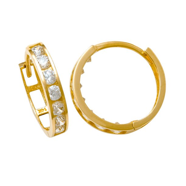 Anygolds 14k Diamond Cz Hoop Earring Real Solid Gold Cartilage