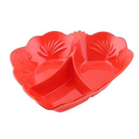 Unique Bargains Plastic 3 Compartments Fruit Candy Snack Nuts Storage Tray Plate Holder Red ()