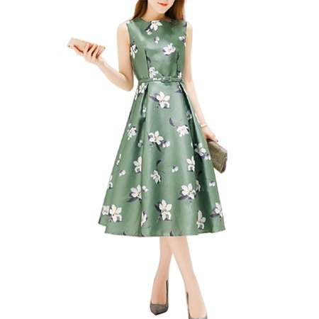 Babula Women Floral Printed A-line Long Midi Sun Dress (Painted Dresses)