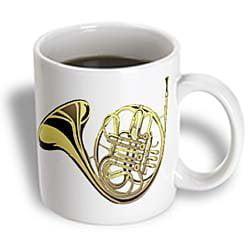 3dRose Large Gold French Horn, Ceramic Mug, 15-ounce