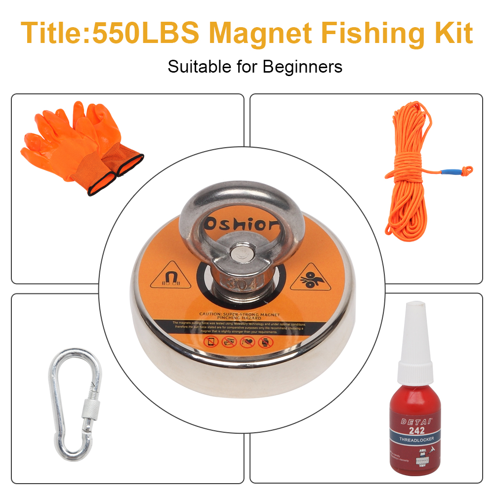 Details about  /Oshion 1100lb Strong Salvage Fishing Magnetic Set Case Metal Recovery Detector