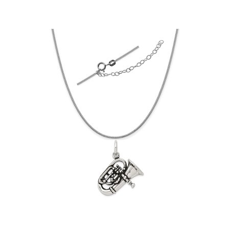 - Sterling Silver Antiqued Alto Horn Charm on a 0.90mm Box Chain Necklace, 18