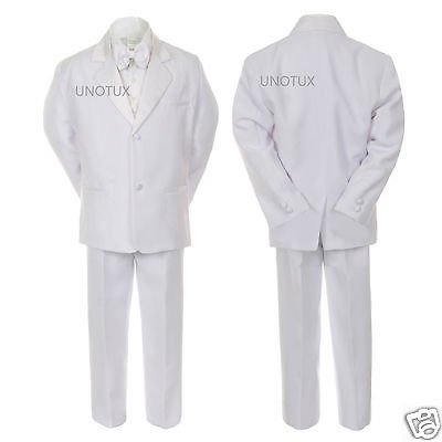 Baby Boy Kid Wedding Party Baptism Communion Formal Tuxedo 5pc White Suit S-20 - First Communion Suit Boy