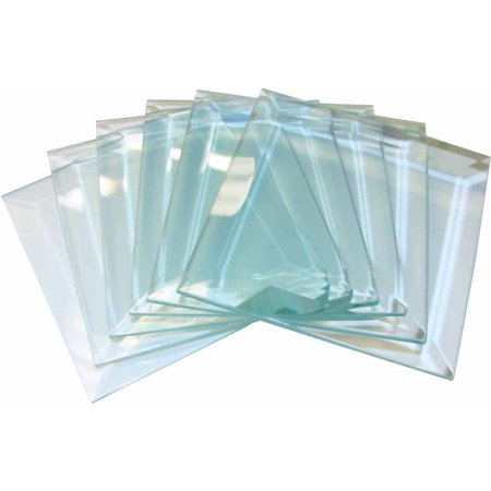 """School Specialty Square Glass Bevels, 4"""" x 4"""", Clear, Set of 6"""