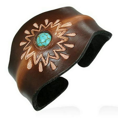 - Brown Tan Leather Blue Turquoise-Tone Engraved Cuff Bangle Womens Adjustable Bracelet