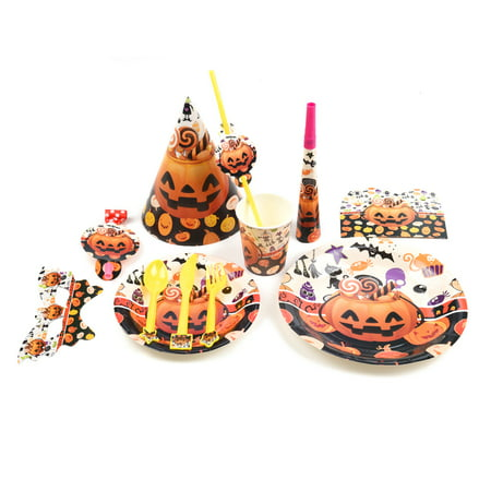 SONLIKE Halloween Paper Party Supply Pack Pumpkin Themed Party Decoration Kit Disposable Dinnerware Set, Set of 77 (Halloween 4 Main Theme)