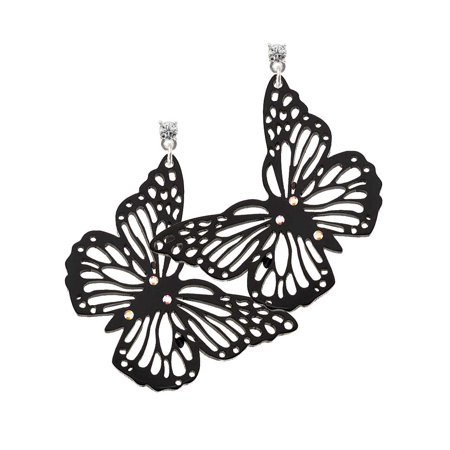 Acrylic Cut Out Butterfly Black Clear Crystal Post Earrings