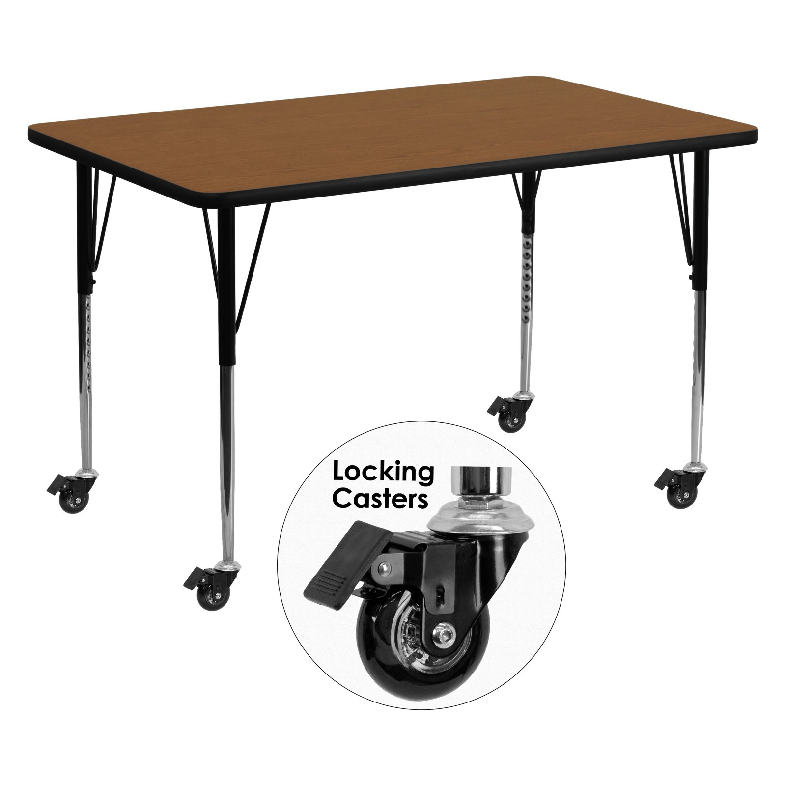 Flash Furniture Mobile 30''W x 60''L Rectangular Activity Table with 1.25'' Thick High Pressure Oak Laminate Top and Standard Height Adjustable Legs