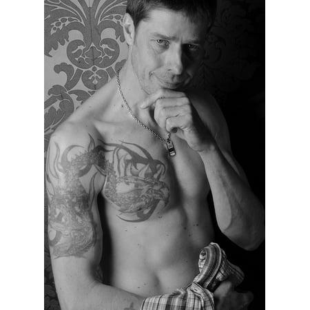 Canvas Print Tattoo Tattooed Man Portrait Breast Abs Body Man Stretched Canvas 10 x 14 (Tattoo Breast)